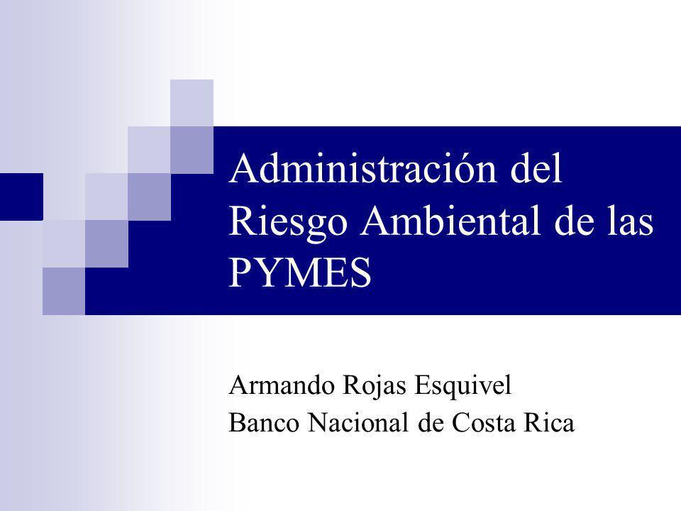Administración del Riesgo Ambiental de las PYMES Armando Rojas Esquivel Banco Nacional de Costa Rica