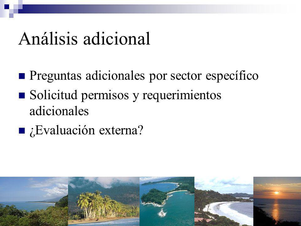 Análisis adicional Preguntas adicionales por sector específico Solicitud permisos y requerimientos adicionales ¿Evaluación externa