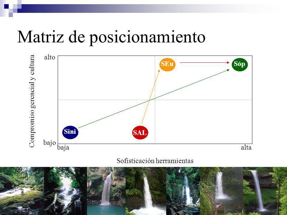 Matriz de posicionamiento Sofisticación herramientas Compromiso gerencial y cultura SAL Sini SópSEu baja bajo alta alto