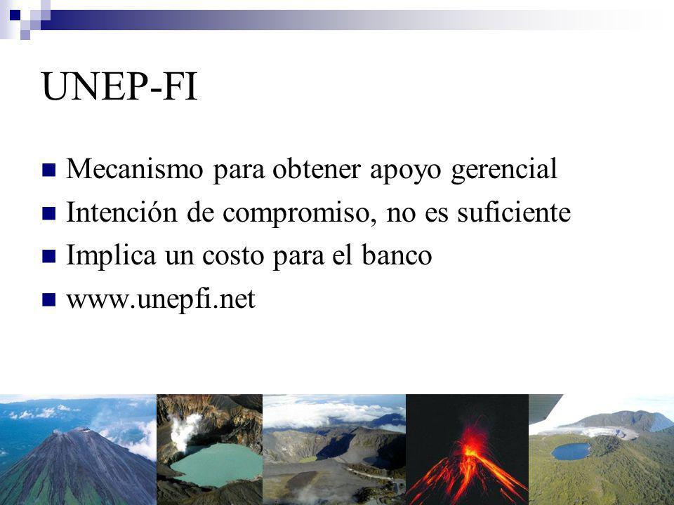 UNEP-FI Mecanismo para obtener apoyo gerencial Intención de compromiso, no es suficiente Implica un costo para el banco www.unepfi.net