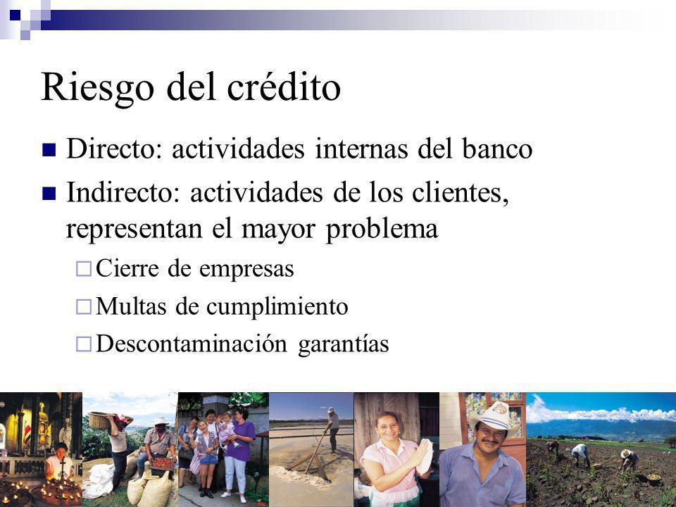 Riesgo del crédito Directo: actividades internas del banco Indirecto: actividades de los clientes, representan el mayor problema Cierre de empresas Multas de cumplimiento Descontaminación garantías