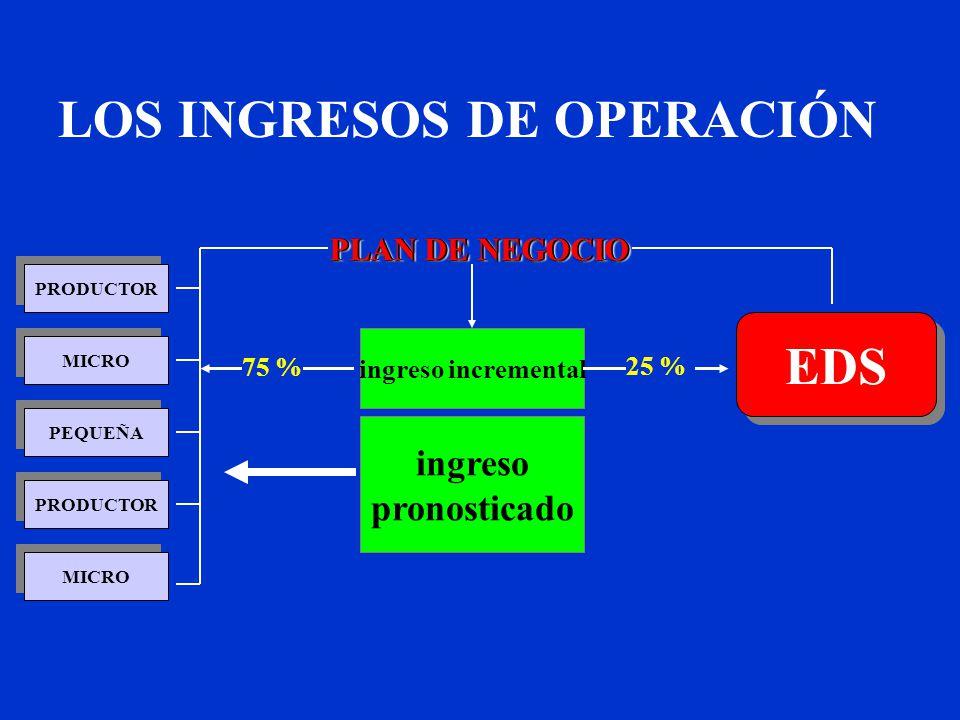 PRODUCTOR MICRO PEQUEÑA MICRO PRODUCTOR ingreso pronosticado ingreso incremental PLAN DE NEGOCIO EDS 75 % 25 % LOS INGRESOS DE OPERACIÓN