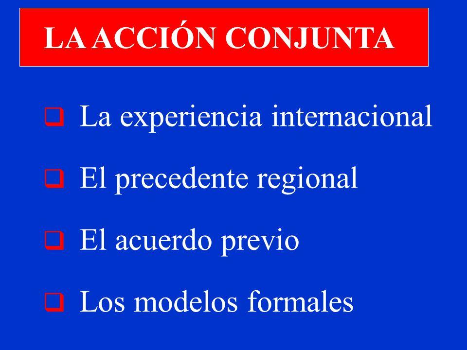 LA ACCIÓN CONJUNTA La experiencia internacional El precedente regional Los modelos formales El acuerdo previo