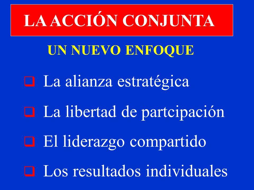 LA ACCIÓN CONJUNTA La alianza estratégica La libertad de partcipación Los resultados individuales El liderazgo compartido UN NUEVO ENFOQUE