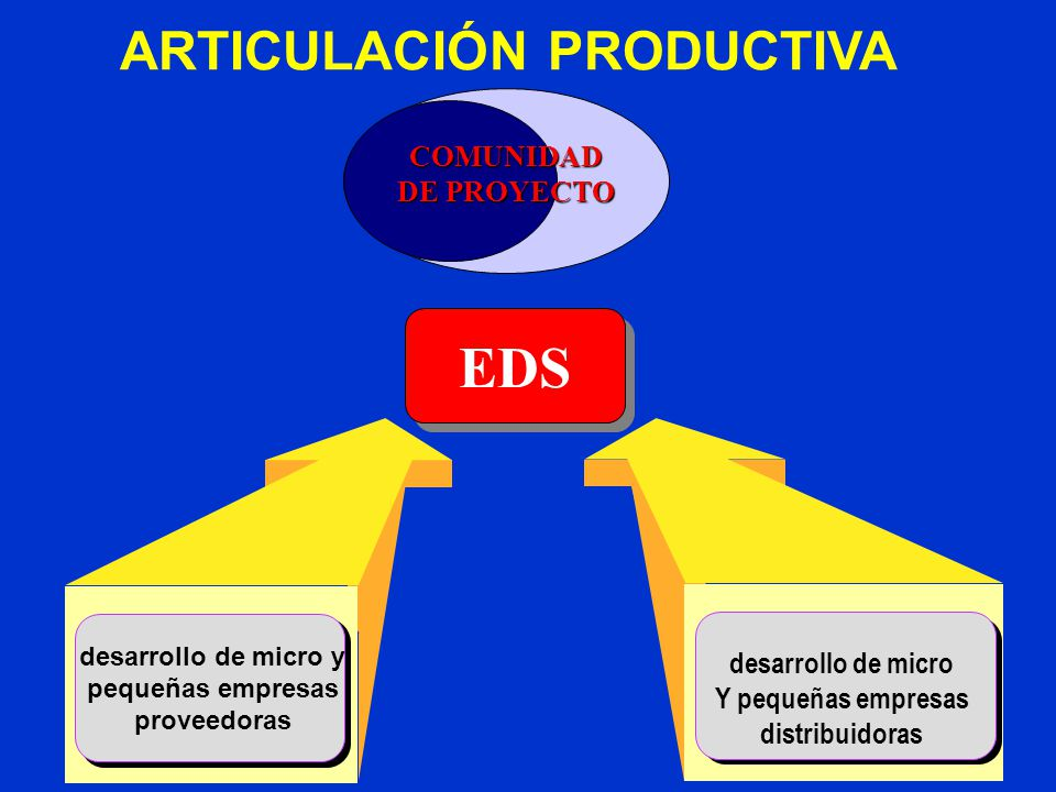 desarrollo de micro y pequeñas empresas proveedoras desarrollo de micro Y pequeñas empresas distribuidoras ARTICULACIÓN PRODUCTIVA EDS COMUNIDAD DE PROYECTO