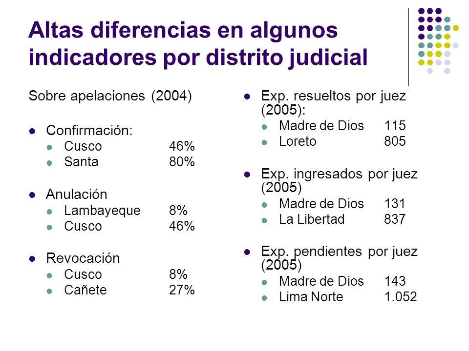 Altas diferencias en algunos indicadores por distrito judicial Sobre apelaciones (2004) Confirmación: Cusco46% Santa80% Anulación Lambayeque8% Cusco46% Revocación Cusco8% Cañete27% Exp.