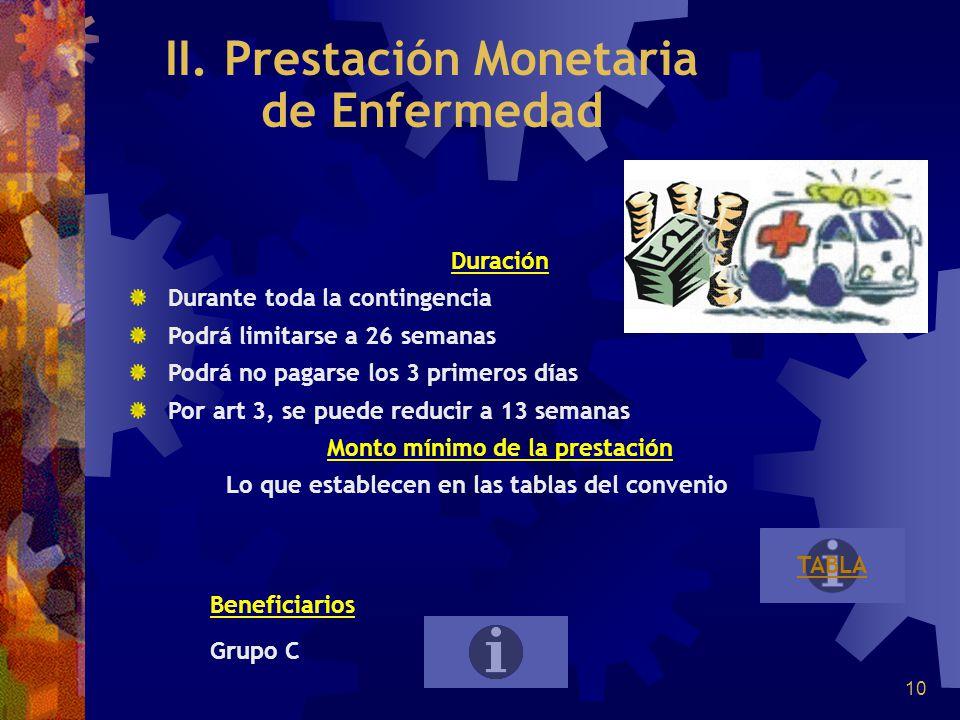 10 II. Prestación Monetaria de Enfermedad Duración Durante toda la contingencia Podrá limitarse a 26 semanas Podrá no pagarse los 3 primeros días Por