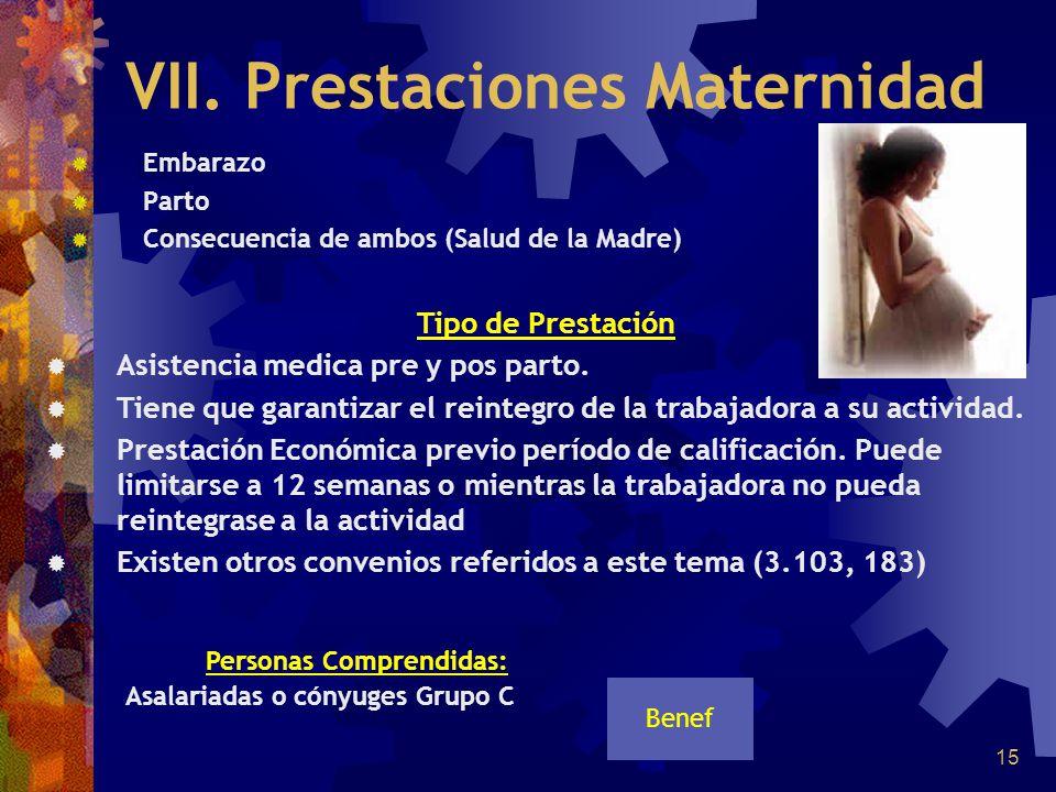 15 VII. Prestaciones Maternidad Embarazo Parto Consecuencia de ambos (Salud de la Madre) Personas Comprendidas: Asalariadas o cónyuges Grupo C Benef T