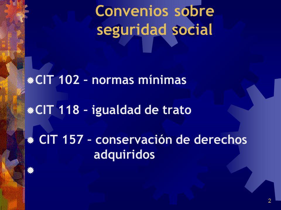 3 Convenio 102 (1952) 44 Ratificaciones en total Perú – 23/08/1961 No lo ratificaron: Uruguay Paraguay Colombia Honduras República Dominicana