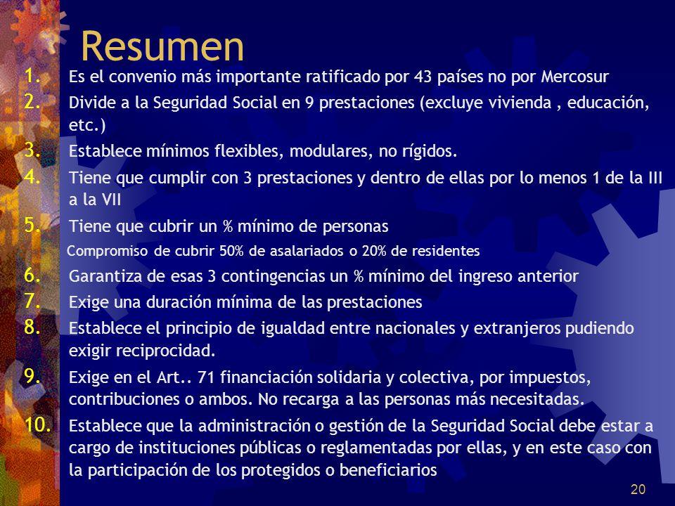 20 Resumen 1. Es el convenio más importante ratificado por 43 países no por Mercosur 2. Divide a la Seguridad Social en 9 prestaciones (excluye vivien
