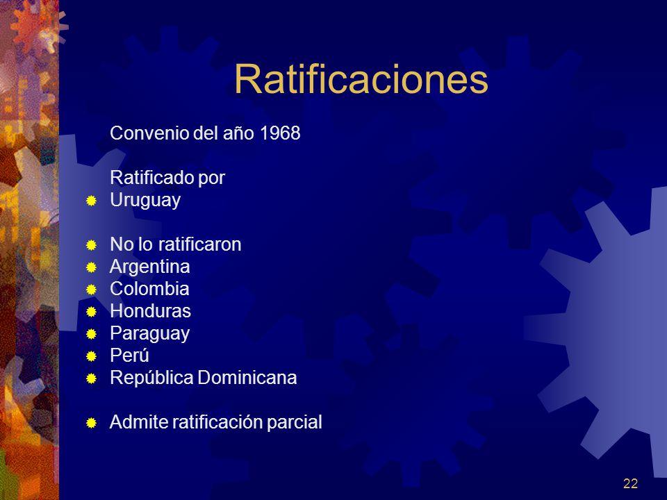 22 Ratificaciones Convenio del año 1968 Ratificado por Uruguay No lo ratificaron Argentina Colombia Honduras Paraguay Perú República Dominicana Admite