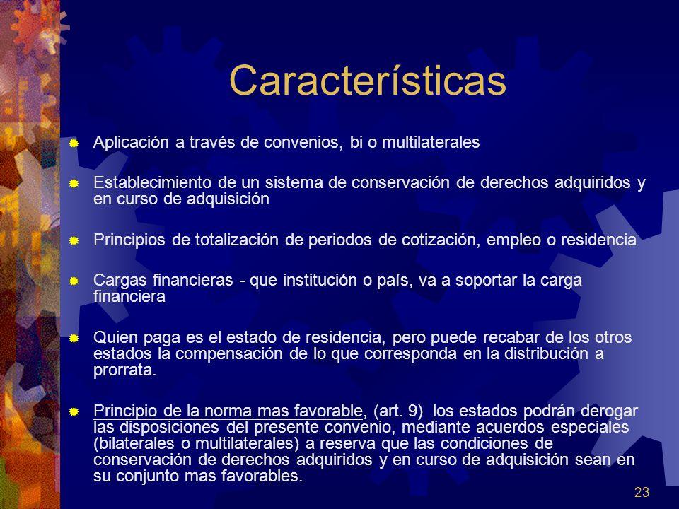 23 Características Aplicación a través de convenios, bi o multilaterales Establecimiento de un sistema de conservación de derechos adquiridos y en cur