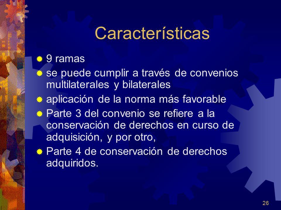 26 Características 9 ramas se puede cumplir a través de convenios multilaterales y bilaterales aplicación de la norma más favorable Parte 3 del conven