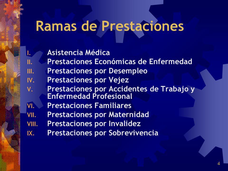 4 Ramas de Prestaciones I. Asistencia Médica II. Prestaciones Económicas de Enfermedad III. Prestaciones por Desempleo IV. Prestaciones por Vejez V. P