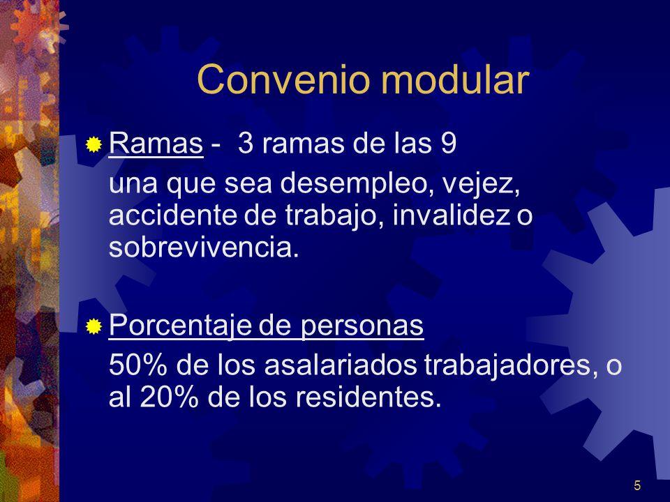 5 Convenio modular Ramas - 3 ramas de las 9 una que sea desempleo, vejez, accidente de trabajo, invalidez o sobrevivencia. Porcentaje de personas 50%