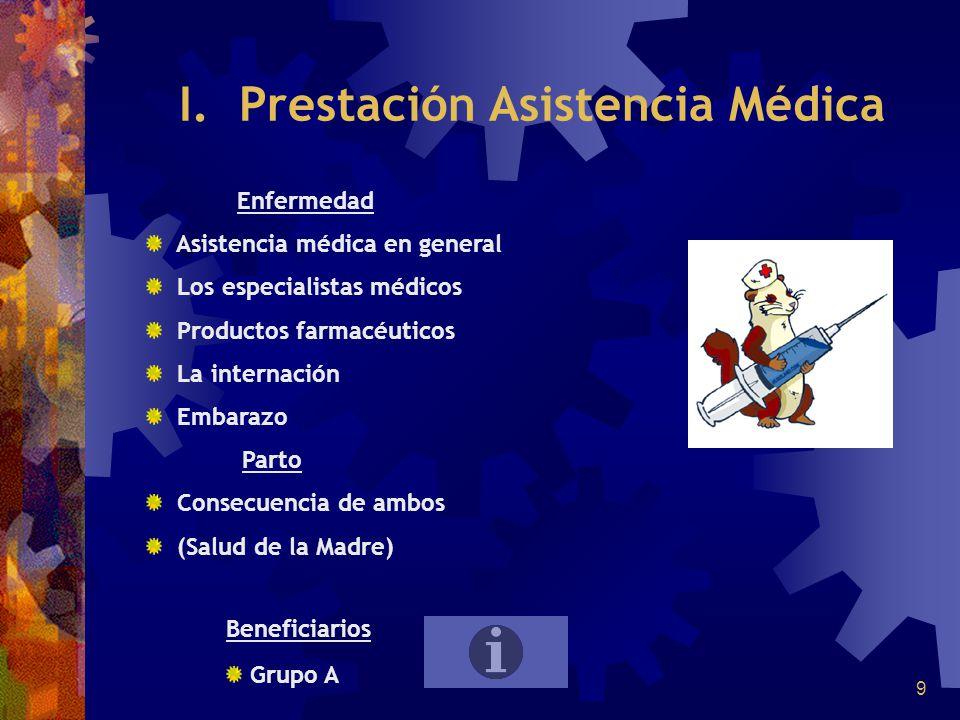 9 I. Prestación Asistencia Médica Enfermedad Asistencia médica en general Los especialistas médicos Productos farmacéuticos La internación Embarazo Pa