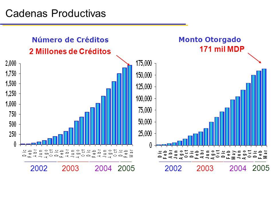 Monto Otorgado Número de Créditos 2 Millones de Créditos 171 mil MDP 2003200220042005200320022004 2005 Cadenas Productivas