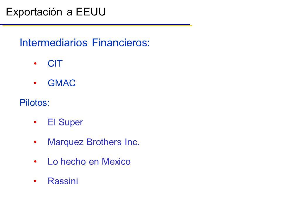 Exportación a EEUU Intermediarios Financieros: CIT GMAC Pilotos: El Super Marquez Brothers Inc.