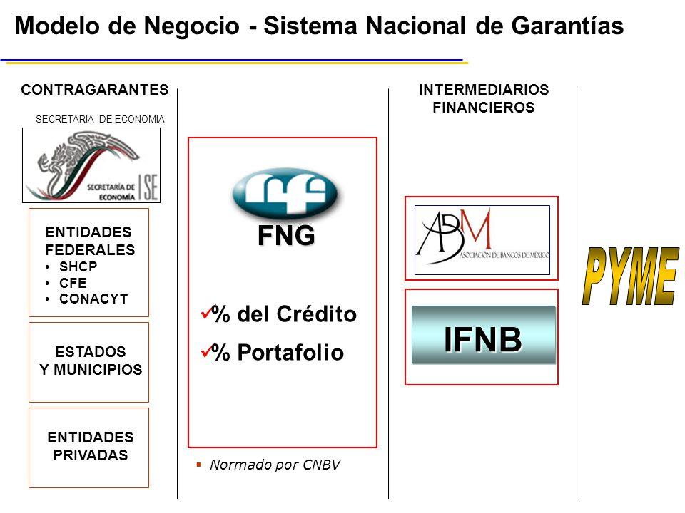 Modelo de Negocio - Sistema Nacional de Garantías IFNB INTERMEDIARIOS FINANCIEROS CONTRAGARANTES ENTIDADES PRIVADAS ESTADOS Y MUNICIPIOS ENTIDADES FEDERALES SHCP CFE CONACYT SECRETARIA DE ECONOMIA % del Crédito % Portafolio FNG Normado por CNBV