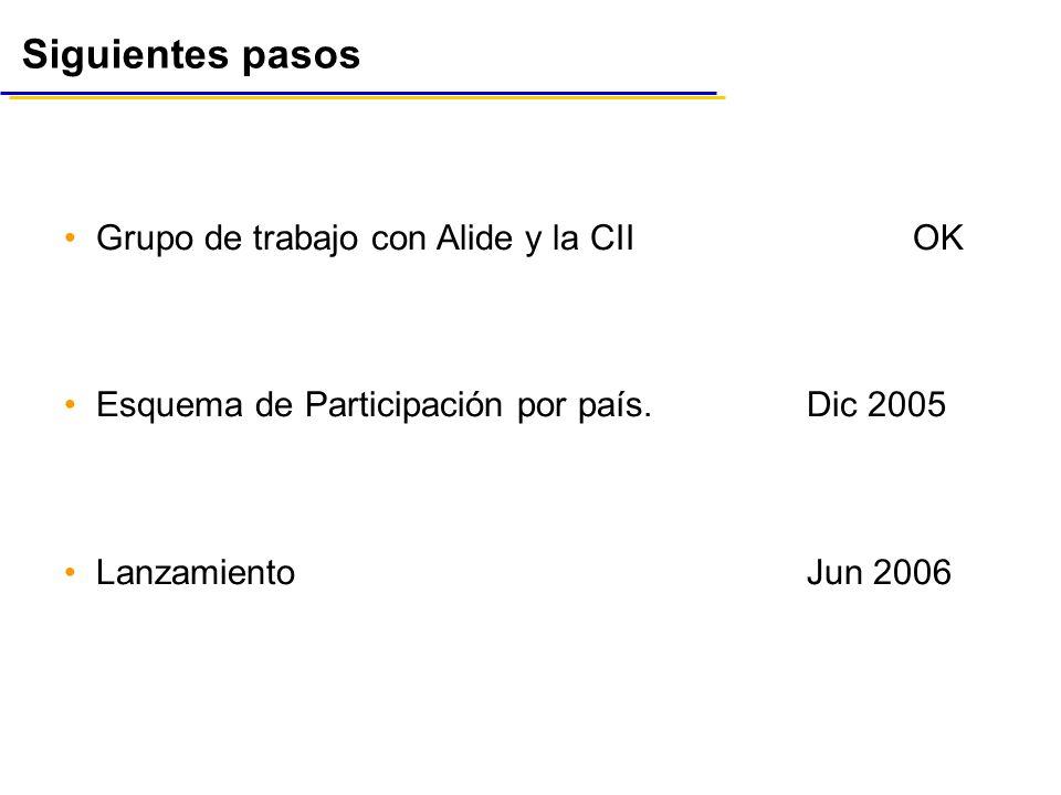 Siguientes pasos Grupo de trabajo con Alide y la CIIOK Esquema de Participación por país.