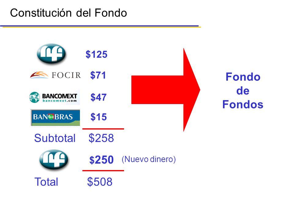 Constitución del Fondo Fondo de Fondos $125 $71 $47 $15 Subtotal $258 $ 250 Total $508 (Nuevo dinero)