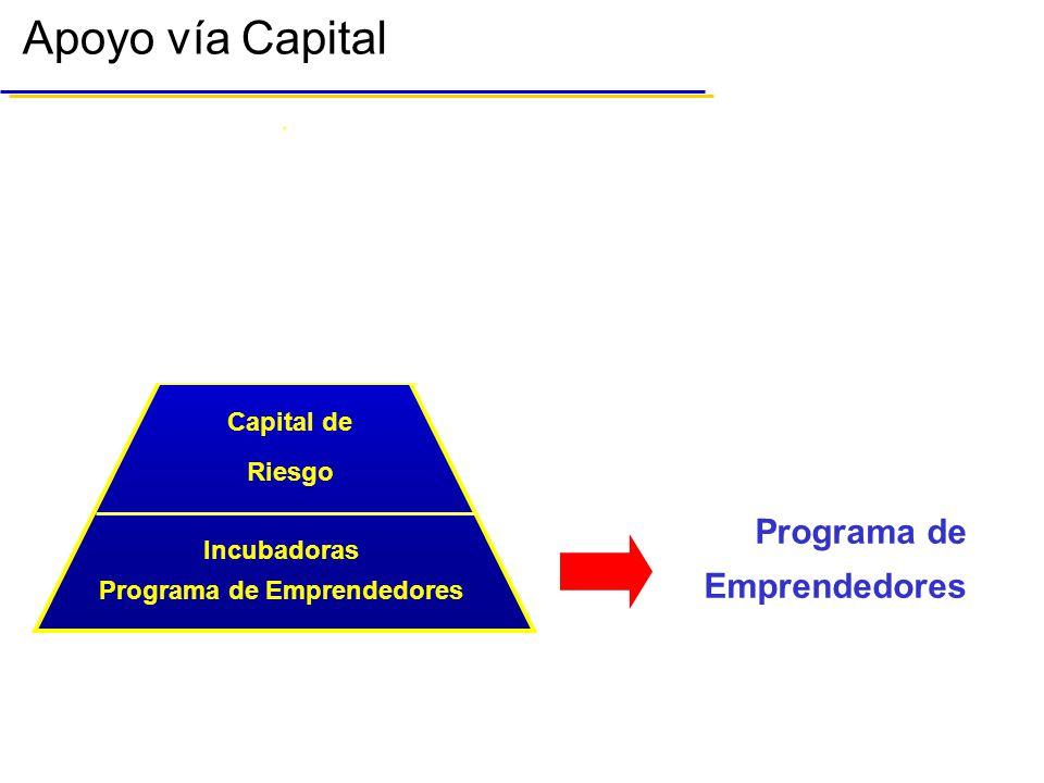 Apoyo vía Capital Capital de Riesgo Bolsa Mexicana de Valores Capital de Riesgo Programa de Emprendedores Incubadoras Bolsa Mexicana de Valores Programa de Emprendedores