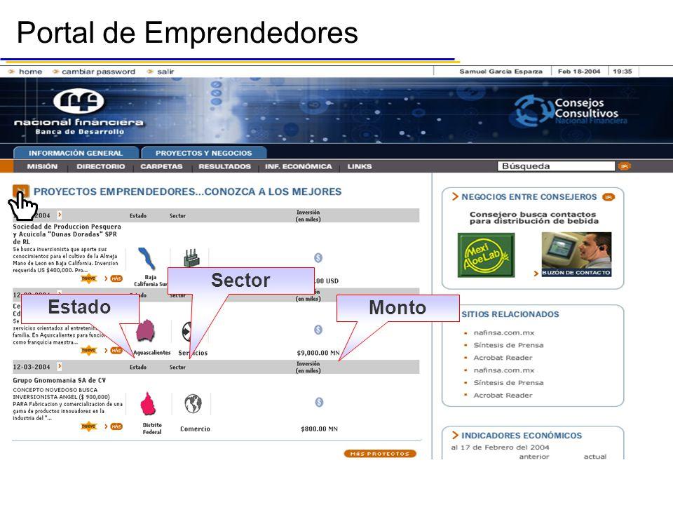 Portal de Emprendedores Monto Estado Sector