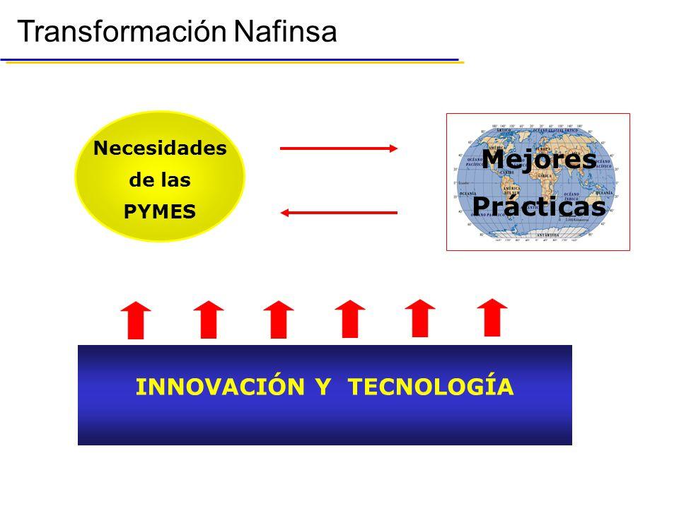 Transformación Nafinsa Necesidades de las PYMES INNOVACIÓN Y TECNOLOGÍA Mejores Prácticas