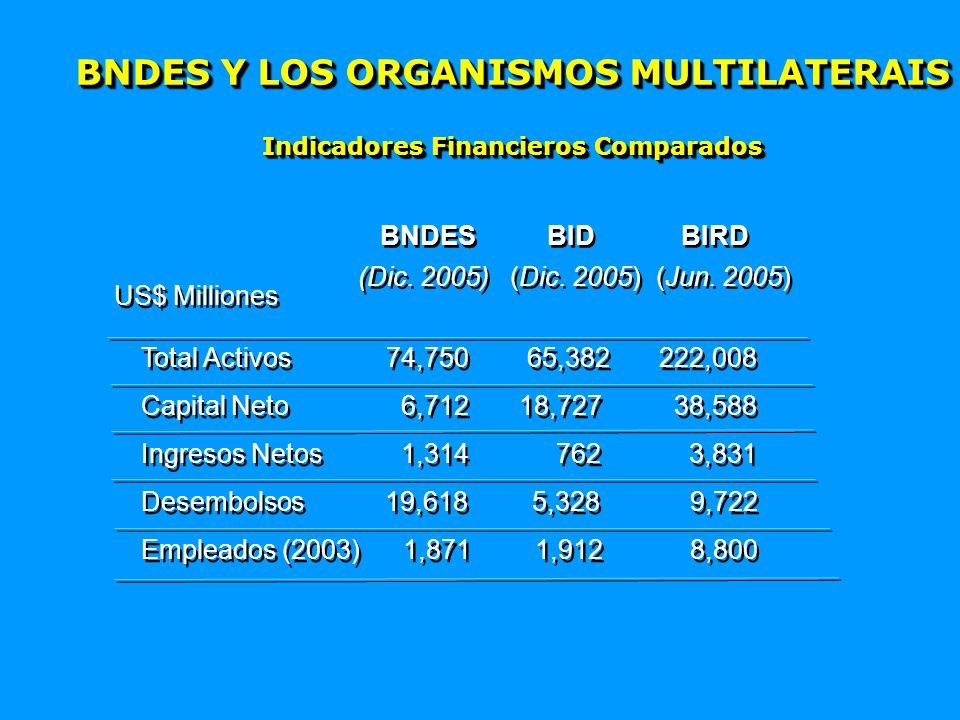 BNDES Y LOS ORGANISMOS MULTILATERAIS Indicadores Financieros Comparados BNDES BID BIRD (Dic.