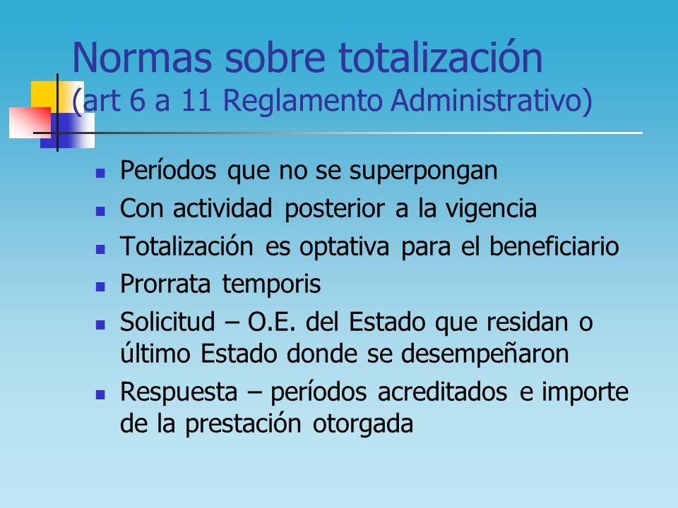 Normas sobre totalización (art 6 a 11 Reglamento Administrativo) Períodos que no se superpongan Con actividad posterior a la vigencia Totalización es