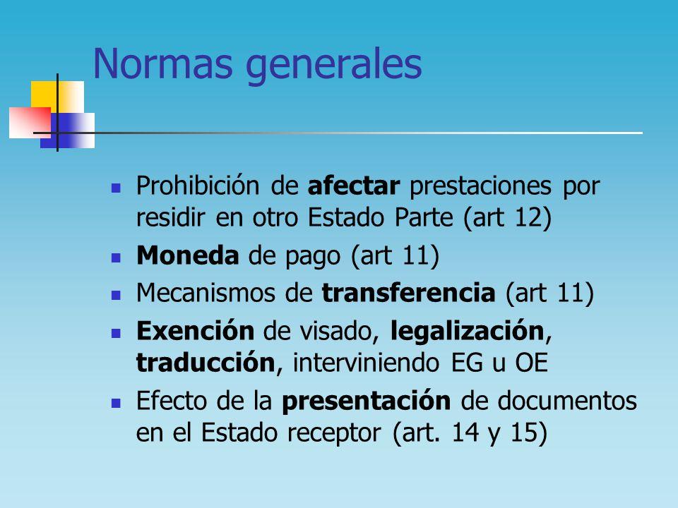 Normas generales Prohibición de afectar prestaciones por residir en otro Estado Parte (art 12) Moneda de pago (art 11) Mecanismos de transferencia (ar
