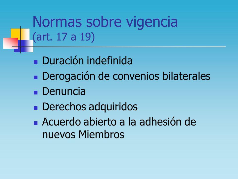 Normas sobre vigencia (art. 17 a 19) Duración indefinida Derogación de convenios bilaterales Denuncia Derechos adquiridos Acuerdo abierto a la adhesió