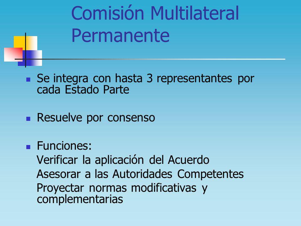 Comisión Multilateral Permanente Se integra con hasta 3 representantes por cada Estado Parte Resuelve por consenso Funciones: Verificar la aplicación
