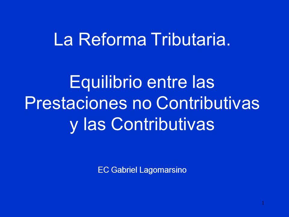1 La Reforma Tributaria. Equilibrio entre las Prestaciones no Contributivas y las Contributivas EC Gabriel Lagomarsino