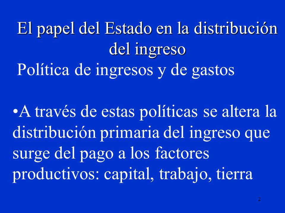 2 El papel del Estado en la distribución del ingreso Política de ingresos y de gastos A través de estas políticas se altera la distribución primaria d