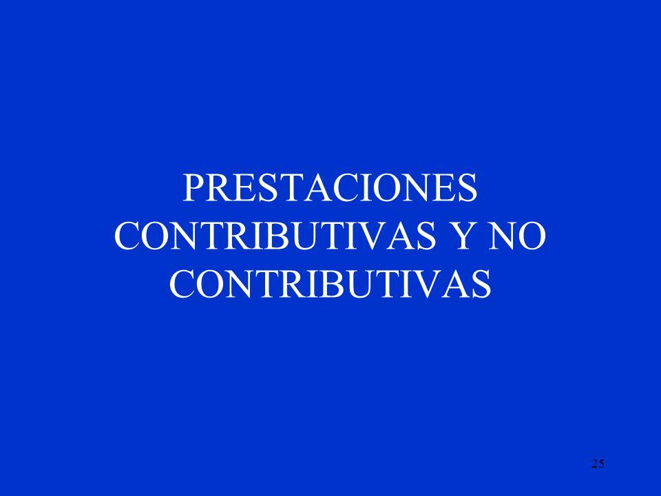 25 PRESTACIONES CONTRIBUTIVAS Y NO CONTRIBUTIVAS