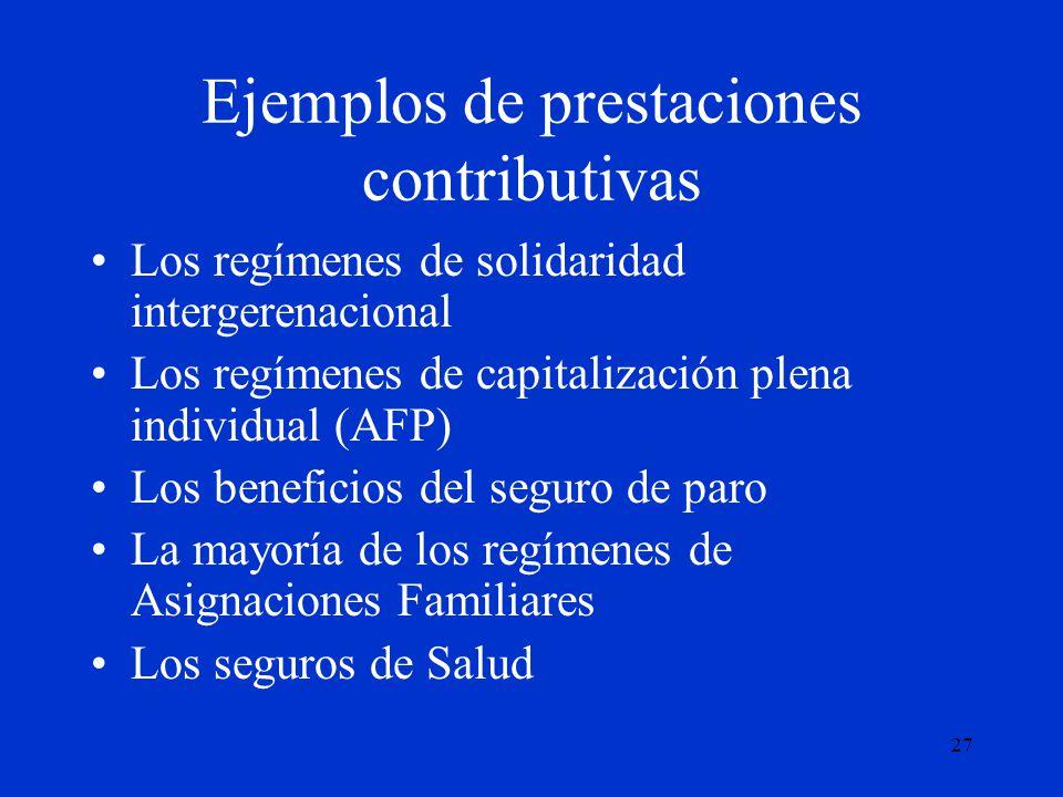 27 Ejemplos de prestaciones contributivas Los regímenes de solidaridad intergerenacional Los regímenes de capitalización plena individual (AFP) Los be