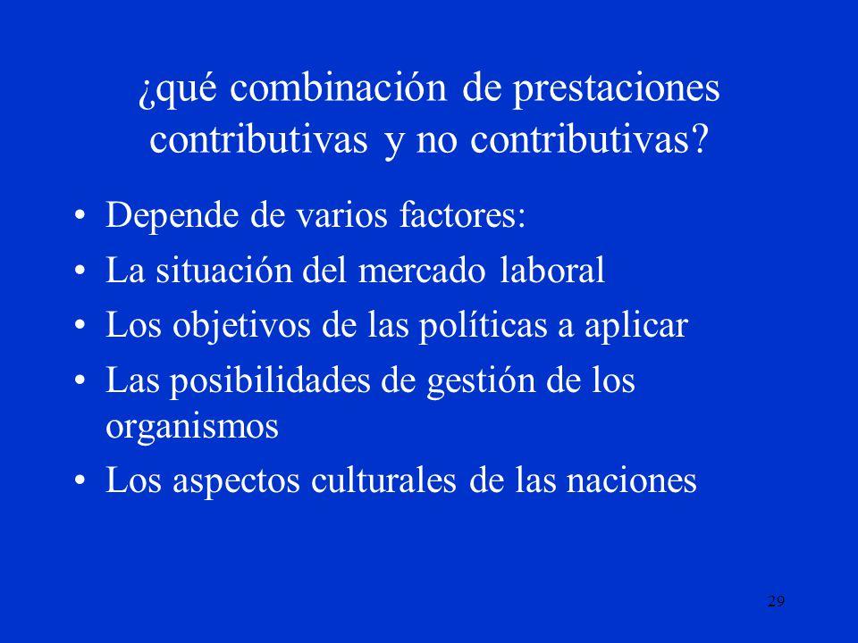 29 ¿qué combinación de prestaciones contributivas y no contributivas? Depende de varios factores: La situación del mercado laboral Los objetivos de la