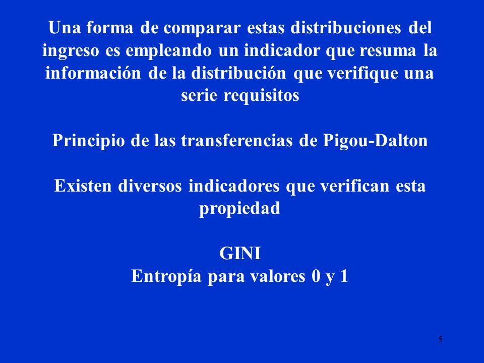 6 El indicador más usado en general para evaluar la distribución del ingreso es el índice de Gini, el que tiene una interpretación muy intuitiva.