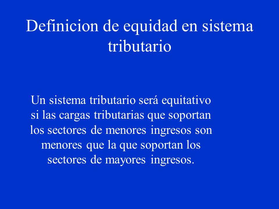 Definicion de equidad en sistema tributario Un sistema tributario será equitativo si las cargas tributarias que soportan los sectores de menores ingre