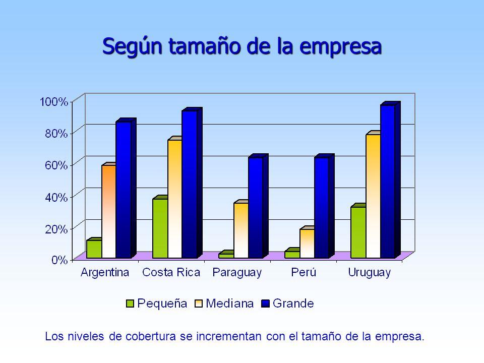 Según tamaño de la empresa Los niveles de cobertura se incrementan con el tamaño de la empresa.