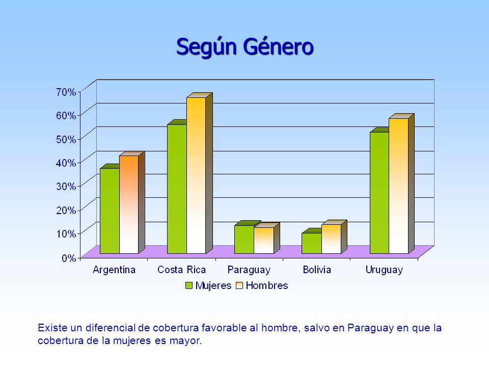 Según Género Existe un diferencial de cobertura favorable al hombre, salvo en Paraguay en que la cobertura de la mujeres es mayor.