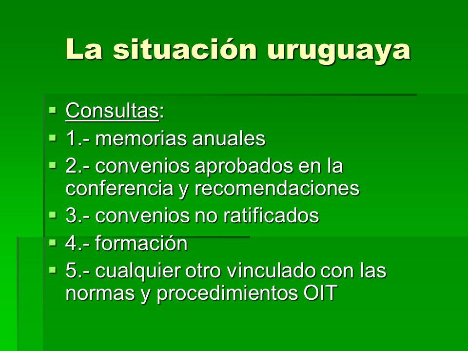 La situación uruguaya Consultas: Consultas: 1.- memorias anuales 1.- memorias anuales 2.- convenios aprobados en la conferencia y recomendaciones 2.-