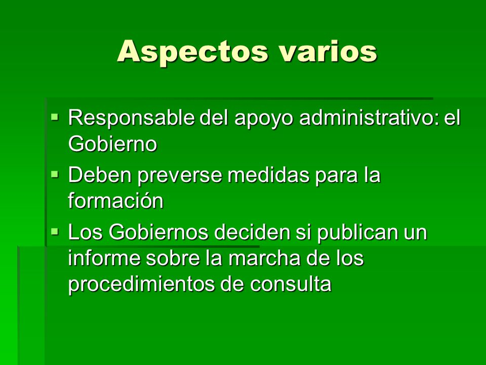 Aspectos varios Responsable del apoyo administrativo: el Gobierno Responsable del apoyo administrativo: el Gobierno Deben preverse medidas para la for