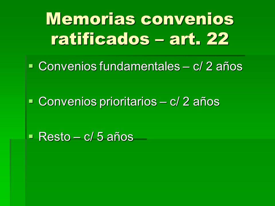 Memorias convenios ratificados – art. 22 Convenios fundamentales – c/ 2 años Convenios fundamentales – c/ 2 años Convenios prioritarios – c/ 2 años Co