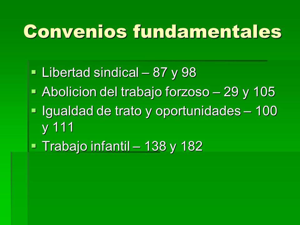 Convenios fundamentales Libertad sindical – 87 y 98 Libertad sindical – 87 y 98 Abolicion del trabajo forzoso – 29 y 105 Abolicion del trabajo forzoso