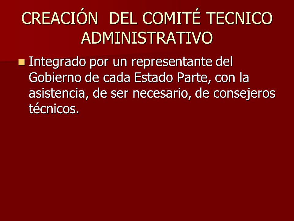 CREACIÓN DEL COMITÉ TECNICO ADMINISTRATIVO Integrado por un representante del Gobierno de cada Estado Parte, con la asistencia, de ser necesario, de c