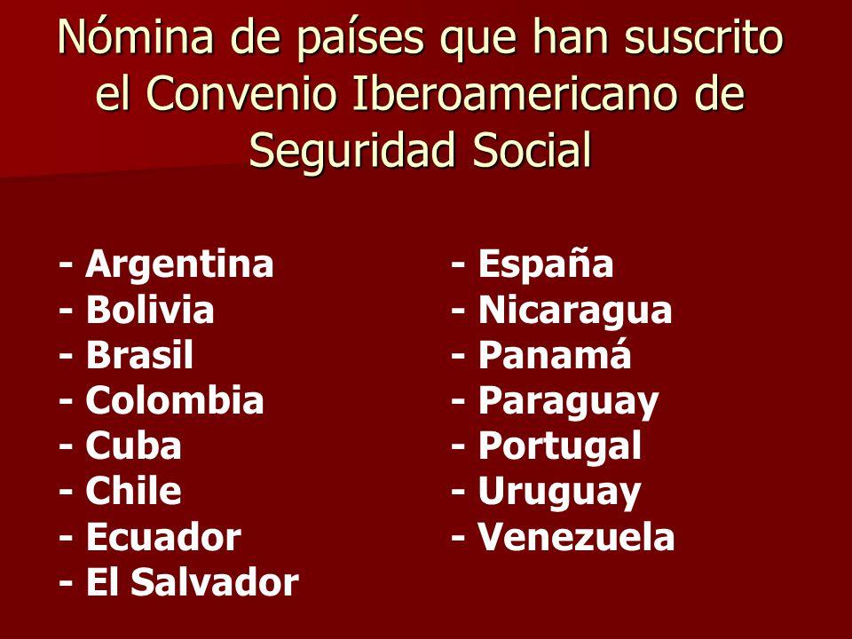 Nómina de países que han suscrito el Convenio Iberoamericano de Seguridad Social - Argentina- España - Bolivia- Nicaragua - Brasil- Panamá - Colombia-