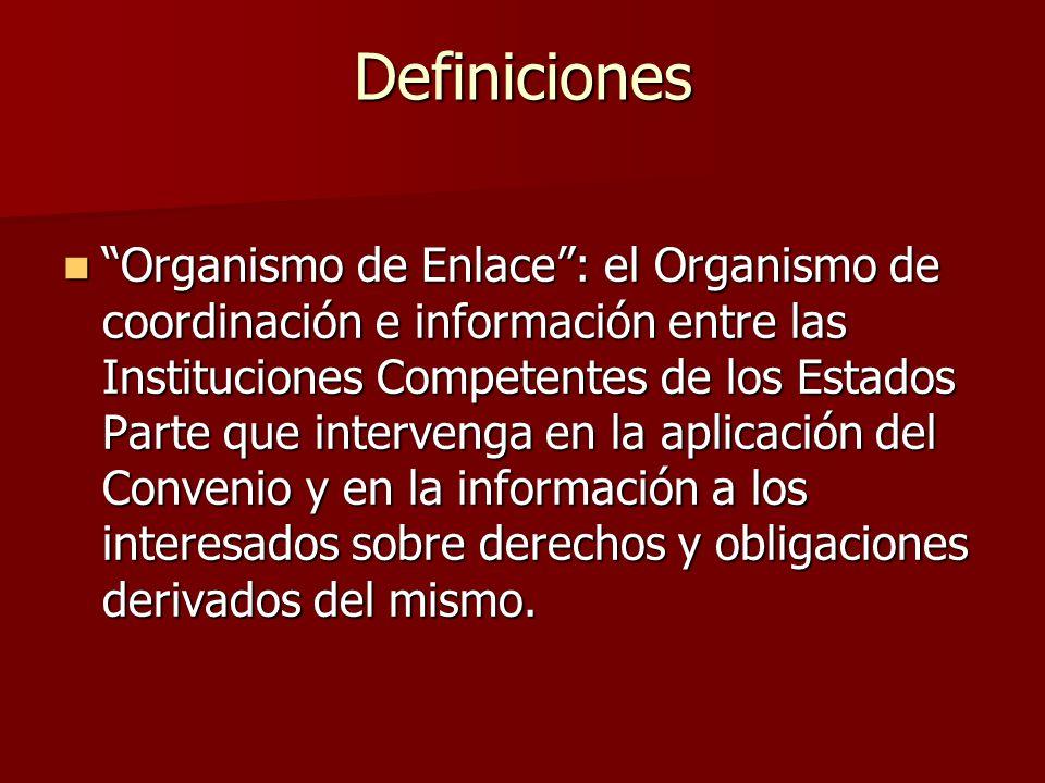 Organismo de Enlace: el Organismo de coordinación e información entre las Instituciones Competentes de los Estados Parte que intervenga en la aplicaci