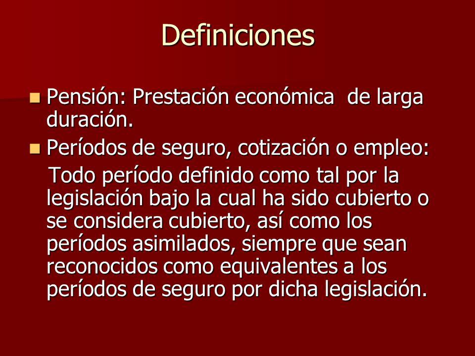 Pensión: Prestación económica de larga duración. Pensión: Prestación económica de larga duración. Períodos de seguro, cotización o empleo: Períodos de